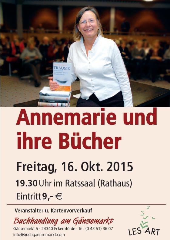 Plakta zu der veranstaltung mit Annemarie Stoltenberg am Fr., den 16. Okt. um 19.30 Uhr im Ratssaal. Eintritt 9,- Euro