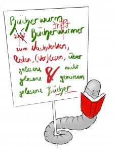 Grafik mit dem Aufruf: Bücherwurm trifft Bücherwürmer!