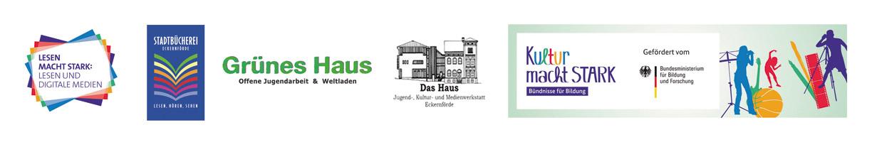 """Lokales Bündnis für Bildung: Stadtbücherei Eckernförde, """"Grünes Haus"""" und """"Das Haus"""" Das Projekt im Rahmen von """"Lesen macht stark: Lesen und digitale Medien"""" wird gefördert vom Bundesministerium für Bildung und Forschung."""