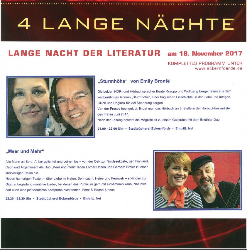 Lange Nacht der Literatur in der Stadtbücherei Eckernförde am 18. November